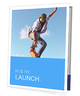 Skateboarder doing stunts on a background of blue sky Presentation Folder