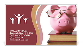 Toy pig with glasses Business Card Template