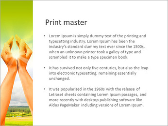 Keep the sun in the hands of PowerPoint Template