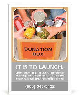 People bring food into the donation box Ad Template