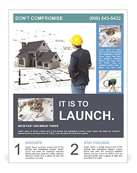 Builder sees the model of the future home Flyer Template