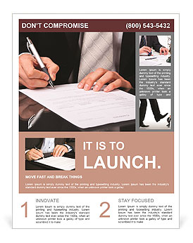 Businessman signs a document Flyer Template