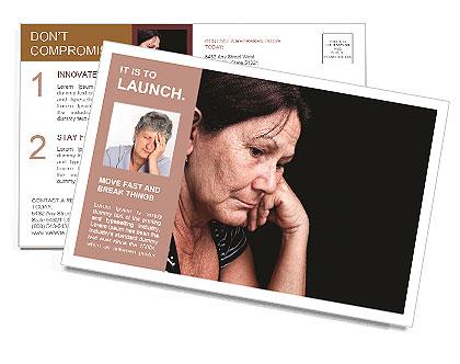 Portrait of a sad old woman Postcard Template