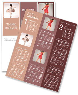 Charming brunette demonstrates a dress Newsletter Template