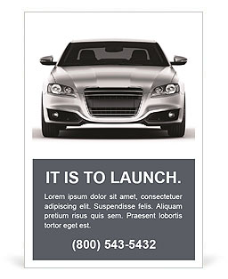 Silver car on a white background Ad Template