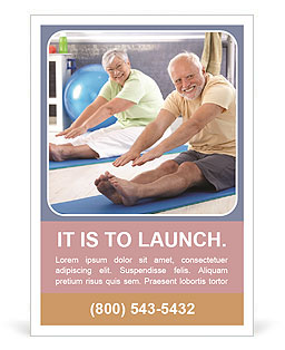 Older people do aerobics Ad Template