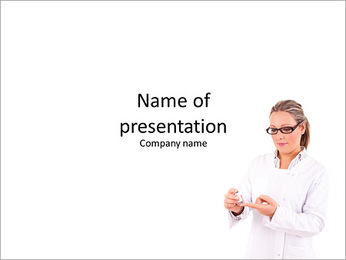 Young and successful medic posing on a white background PowerPoint Template