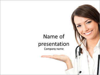 Happy smiling young beautiful female doctor PowerPoint Template