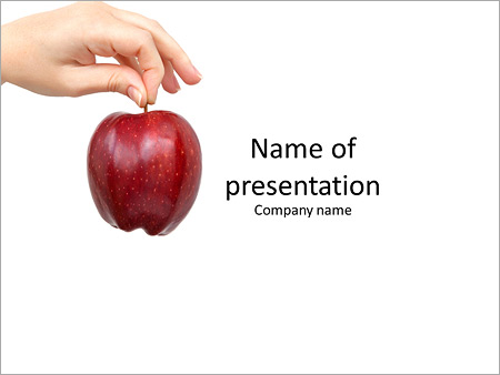 Female hand holding a red apple PowerPoint Template