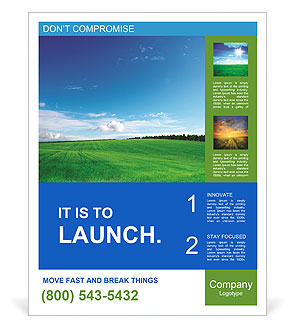 Green field and blue sky Poster Template