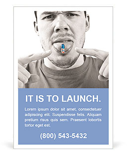Funny man eating pills Ad Template
