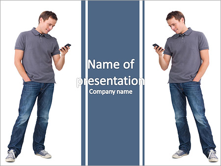 A young boy stares at his mobile phone PowerPoint Template