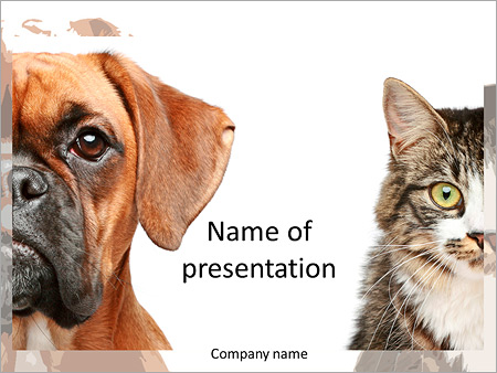 Portrait Of A Cat And A Dog As Opposites Powerpoint Template Infographics Slides