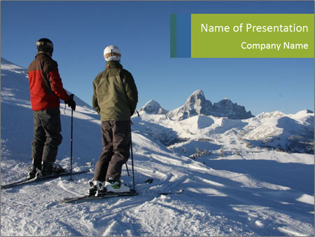 Two skiers view the Tetons PowerPoint Template