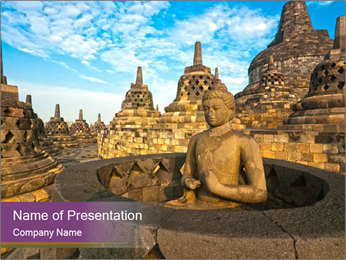 Temple at sunset PowerPoint Template