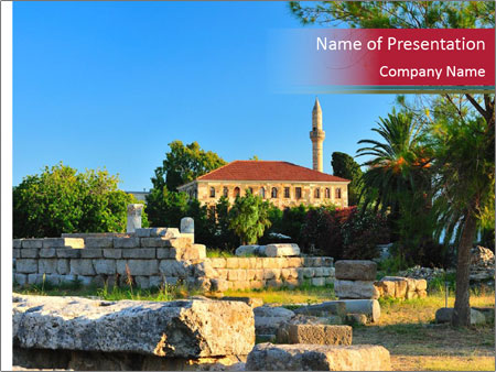 View to agora and the old mosque PowerPoint Template