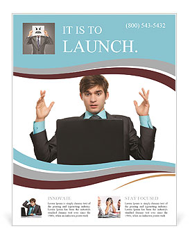 Businessman sitting with a laptop with his arms raised Flyer Template