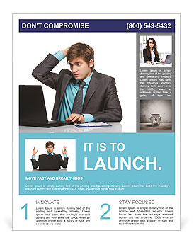 Businessman looking at a laptop and holding his head Flyer Template