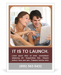 Couple smiling and making a joint selection on the tablet Ad Template