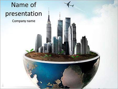 Les grands bâtiments sont sur la section de la planète Modèles des présentations  PowerPoint
