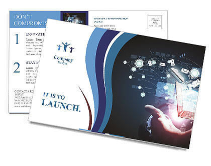 In the hands of a man cutting-edge technology Postcard Template
