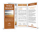 Orange sand and sea at sunset Brochure Template