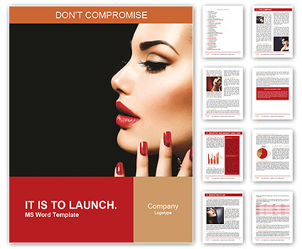 Beauty Woman with Perfect Makeup. Beautiful Professional Holiday Make-up. Red Lips and Nails. Beauty Word Template