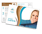 Woman covers her mouth with hand: Freedom of speech concept Postcard Template