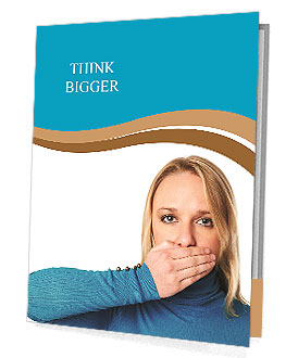 Woman covers her mouth with hand: Freedom of speech concept Presentation Folder