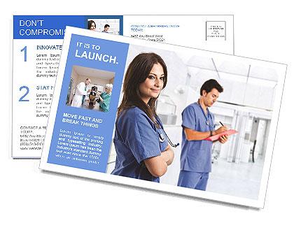 Portrait of a beautiful smiling nurse Postcard Template