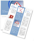 Illustration depicting a red and white triangular warning sign with a 'healthcare' concept. Blurred Newsletter Template