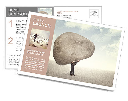 Caucasian ma carry huge stone on his back Postcard Template