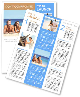 Beach couple looking. Happy multi-ethnic young couple lying on sand under sunny summer sun. Travel h Newsletter Template