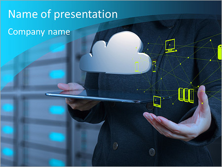 Businesswoman working with a Cloud Computing diagram on the new computer  interface PowerPoint Template & Infographics Slides