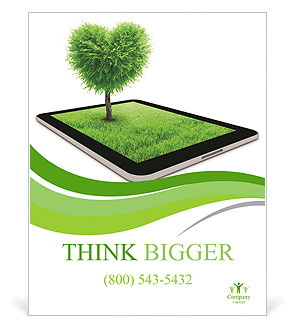 Black tablet like ipade with field and heart shape tree on it. Love concept background Poster Template