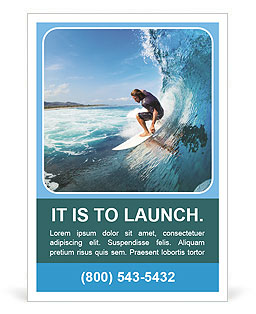Surfer on Blue Ocean Wave in the Tube Getting Barreled Ad Template