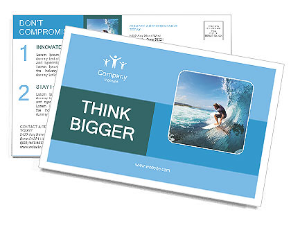 Surfer on Blue Ocean Wave in the Tube Getting Barreled Postcard Template