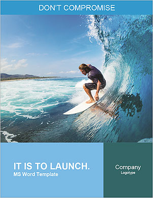 Surfer on Blue Ocean Wave in the Tube Getting Barreled Word Template - Page 1