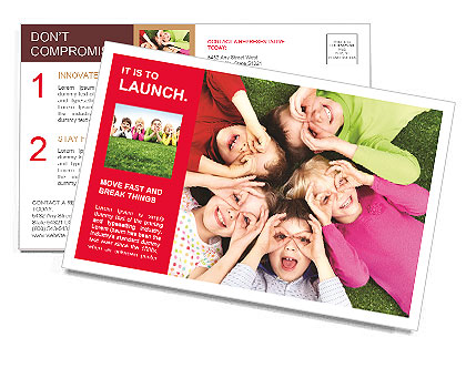 Image of funny kids playing on the grass Postcard Template