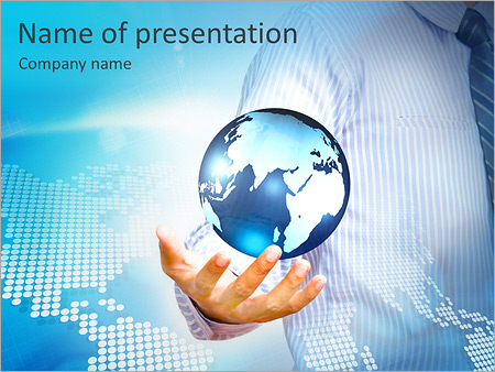 Holding a glowing earth globe in his hands PowerPoint Template &  Infographics Slides