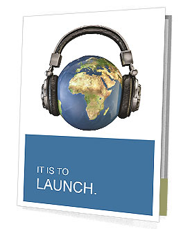 World music 3D render of planet Earth with headphones Presentation Folder
