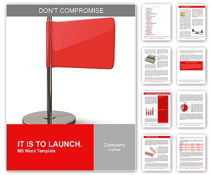 Rote Fahne auf weißem Hintergrund. Hochauflösende 3D-Darstellung Word-Vorlagen