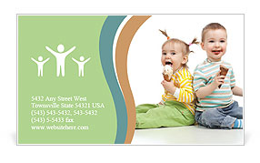Happy children little girl and boy with ice cream in studio isolated Business Card Template