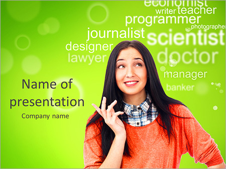 Young female student standing and thinking what profession to choose and start education PowerPoint Template