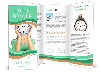 Girl holding clock over face isolated on white Brochure Template