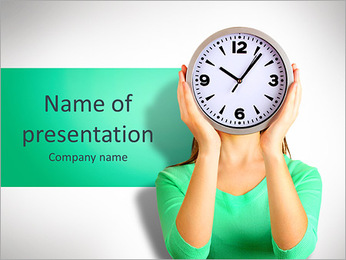 Girl holding clock over face isolated on white PowerPoint Template