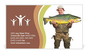 The fisherman with big fish (Brown Trout - Salmo Trutta). Success concept. Business Card Template