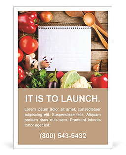 Fresh Organic Vegetables and Spices on a Wooden Background and Paper for Notes. Open Notebook and Fr Ad Template