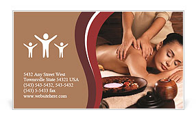 Masseur doing massage on woman body in the spa salon. Beauty treatment concept. Business Card Template