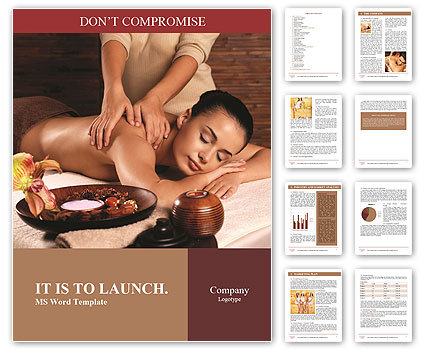 Masseur doing massage on woman body in the spa salon. Beauty treatment concept. Word Template